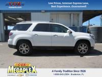 This 2016 GMC Acadia SLT-1 in White is well equipped