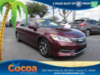 This 2016 Honda Accord LX in Red features: Clean Carfax