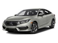 2016 Honda Civic  CARFAX One-Owner. Cloth. Odometer is