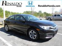 2016 Honda Civic LX Red Cloth.  CARFAX One-Owner. 41/31