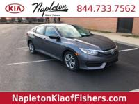 CARFAX One-Owner. 2016 Honda Civic Gray LX FWD CVT One