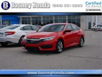 New Price! Certified. Red 2016 Honda Civic LX FWD CVT