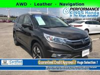 Honda Certified! Features: AWD, Leather, Navigation,