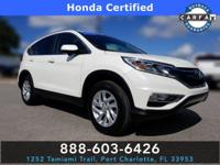 Clean CARFAX. Certified. White Diamond Pearl 2016 Honda