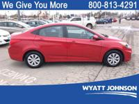 CARFAX One-Owner. Clean CARFAX. Red 2016 Hyundai Accent
