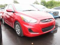 Certified. Red Metallic 2016 Hyundai Accent SE FWD