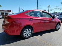 Options:  2016 Hyundai Accent Se 4Dr Sedan 6A|Red|6