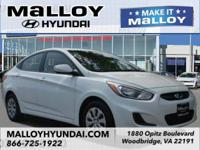 New Price! Clean CARFAX. White 2016 Hyundai Accent SE