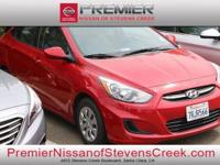 Clean CARFAX. Red 2016 Hyundai Accent SE FWD 6-Speed