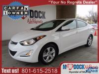 White 2016 Hyundai Elantra Value Edition FWD 6-Speed