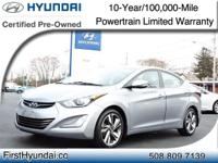 HYUNDAI CERTIFIED- One Owner Limited Elantra comes with