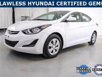 ***WOW! FLAWLESS HYUNDAI CERTIFIED 2016 ELANTRA *38+Mpg