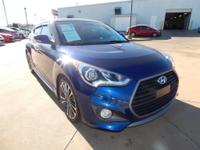 Clean CARFAX. Pacific Blue 2016 Hyundai Veloster Turbo