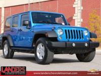 CARFAX One-Owner. Hydro Blue Pearlcoat 2016 Jeep