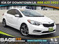 Clean CARFAX. White 2016 Kia Forte EX 4D Sedan FWD
