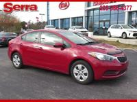 Crimson Red Metallic 2016 Kia Forte LX FWD 6-Speed