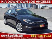 Clean CARFAX. Black 2016 Kia Optima EX 4D Sedan FWD