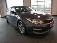 Options:  2016 Kia Optima Lx|Gray|Black. Turbocharged!