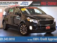 Certified. Black 2016 Kia Sedona EX FWD 6-Speed