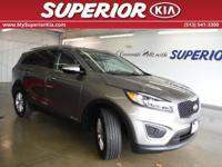 Sorento LX, Kia Certified, 3.3L DOHC, and AWD.