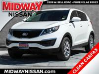 New Price!2016 Kia Sportage LX Clear White 2.4L I4 DGI