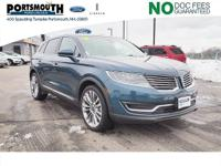 New Price! Clean CARFAX. 2016 Lincoln MKX Reserve Blue