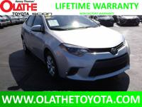 LIFETIME POWERTRAIN WARRANTY ON THIS LOW MILE COROLLA