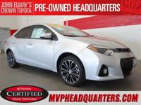 2016 Toyota Corolla S Plus. A clean, one owner Corolla