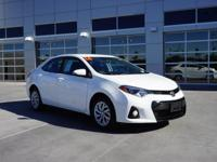 S Clean CARFAX. Super White FWD Corolla S, 4D Sedan,