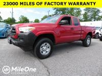 Clean CARFAX. Red 2016 Toyota Tacoma SR 4WD 5-Speed