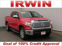 4WD! LOW MILES! LEATHER! Red 2016 Toyota Tundra Limited