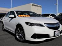 Clean CARFAX. White 2017 Acura TLX 3.5L V6 w/Technology