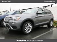 Automatic. AWD! Turbocharged! This handsome 2017 BMW X3