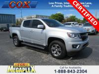 Certified. This 2017 Chevrolet Colorado Z71 in Silver