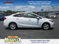 This 2017 Chevrolet Cruze LT in White is well equipped