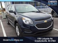 Clean CARFAX.  Blue 2017 Chevrolet Equinox LS 2.4L