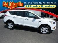 Clean CARFAX. White 2017 Ford Escape S FWD 6-Speed