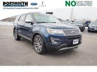 Clean CARFAX. 2017 Ford Explorer Platinum Blue *NO DOC
