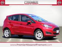 Clean CARFAX. Red 2017 Ford Fiesta SE FWD 5 Speed