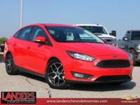 Clean CARFAX. Red 2017 Ford Focus SEL FWD 6-Speed