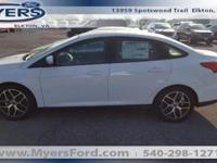 NEW 2017 FOCUS SEL SEDAN. OXFORD WHITE WITH CHARCOAL