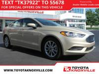 Clean CARFAX. White Gold 2017 Ford Fusion SE FWD