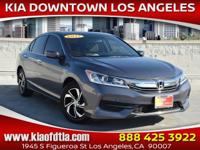 Clean CARFAX. Gray 2017 Honda Accord LX 4D Sedan FWD