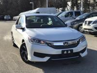 2017 Honda Accord LX White 27/36 City/Highway MPG Clean