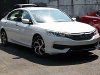 Certified. 2017 Honda Accord LX White Orchid Pearl