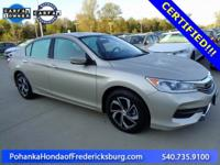 This 2017 Accord sedan is a one owner vehicle with a