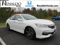 2017 Honda Accord Touring White Orchid Leather.  CARFAX