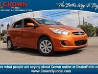 2017 Hyundai Accent SE 36/26 Highway/City MPG  Options: