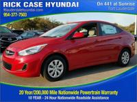 2017 Hyundai Accent SE  in Red. Visibility as plain as