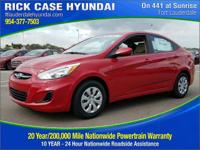 2017 Hyundai Accent SE  in Scarlet Red. Judicious with
